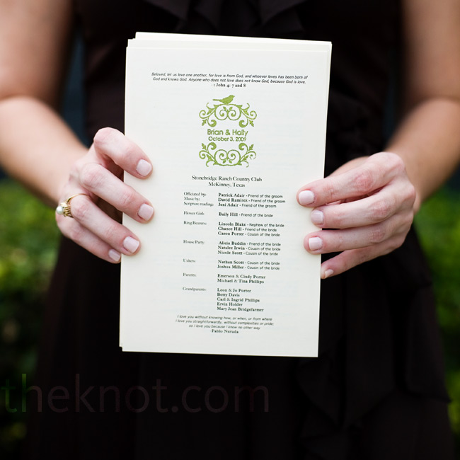 Holly and Brian designed their programs themselves and had them printed at Kinko's. Holly then stamped them so that they matched the rest of the monogrammed items at the wedding.