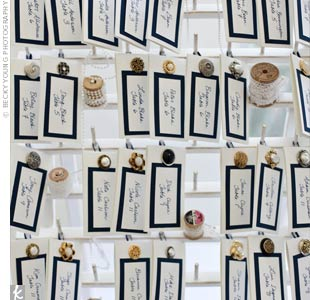 Jenn and her mother designed the vintage-looking escort cards with lace, buttons, and old wooden spools passed down from her grandmother.