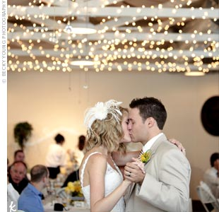 "Jenn and Adam shared their first dance as husband and wife to Michael Buble's ""Everything."""
