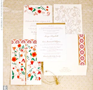 Sonya and Eoin worked with their stationer to turn a piece of textile Sonya had picked up in India years prior into an invitation design. The result: a gorgeous, colorful gatefold invitation.