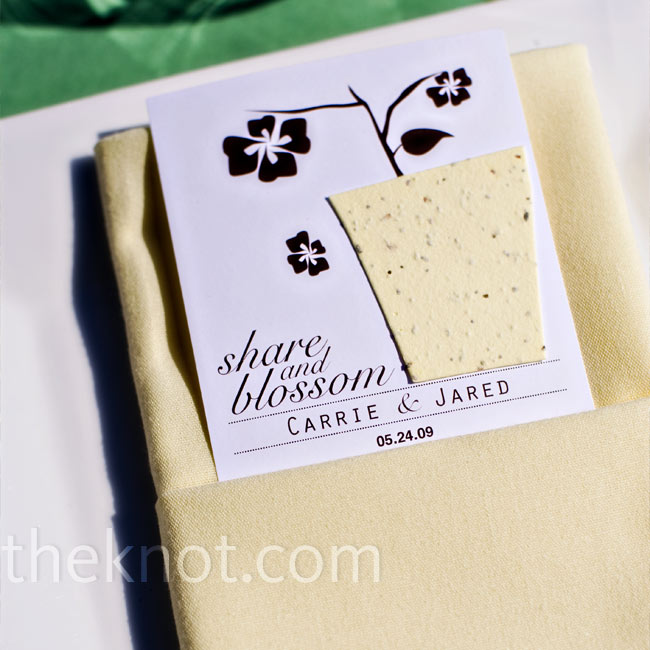 In keeping with their eco-friendly theme, Carrie and Jared gave out wildflower paper that would grow when guests planted it. They attached the paper to cardstock with their names and wedding date.