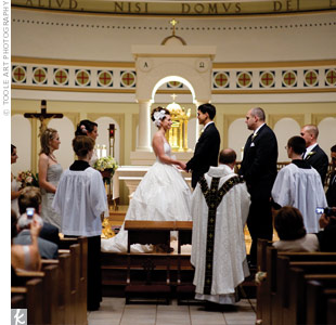 The couple got married at a historic church in Kerrytown. Elizabeth didn't want to muddle the church's beauty with decorations, so they brought none.