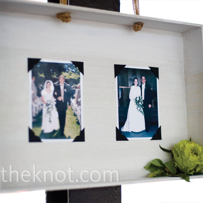 At each column of the shed, Elizabeth and Joel hung shadow boxes with pictures of their family members' wedding photos from colorful ribbon. Their florist put little flowers in each one. It was a cute alternative to displaying framed photos.