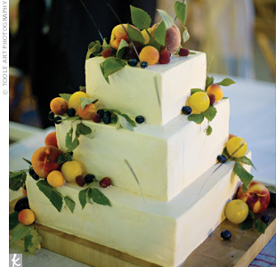Instead of using flowers to add color, sugar-dusted fresh fruit decorated Elizabeth and Joel's petite, three-tiered, buttercream-iced cake.