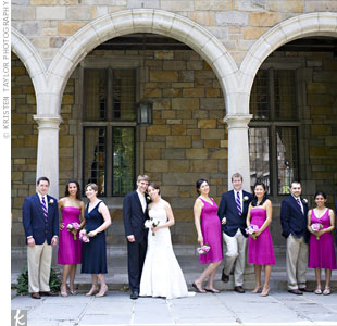 Kelly and Dave had decided on fuchsia for the bridesmaid dresses. From there, navy seemed like the perfect fit for the guys. They even found fuchsia and navy–striped ties!