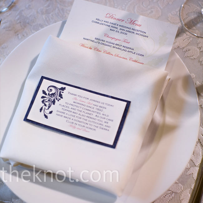 Kelly and Dave designed and printed their menu cards at home using the same paper and patterns as the invitations. Going the DIY route not only saved them a little money, it also allowed them to pick out their own 100 percent recycled paper.