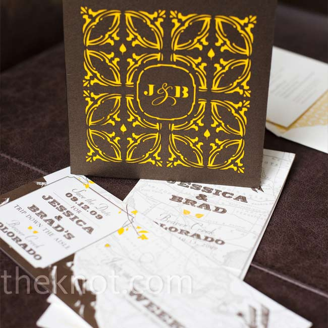 All of the wedding stationery combined the yellow-and-brown color palette with an art nouveau design and Aspen leaf motif.