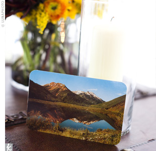 Jessica and Brad found vintage Colorado post cards on eBay and arranged them on the reception tables. Guests took a moment to write their sentiments, and the couple was able to preserve the handwritten memories.