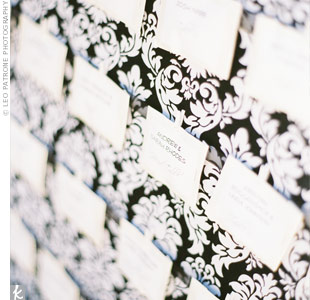 The wedding favors doubled as escort cards. Melyssa and Adam gave their guests unique wine glass markers and folded them into mini envelopes labeled with names and table numbers.