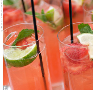 Lizzy and Howard chose a fresh, summery signature drink: the Blushing Bride (aka a strawberry mojito), which incorporated all three wedding colors.