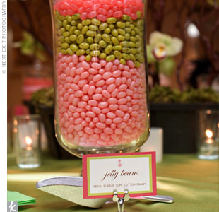 Lizzy and Howard set up a candy bar filled with pink and green sweets.