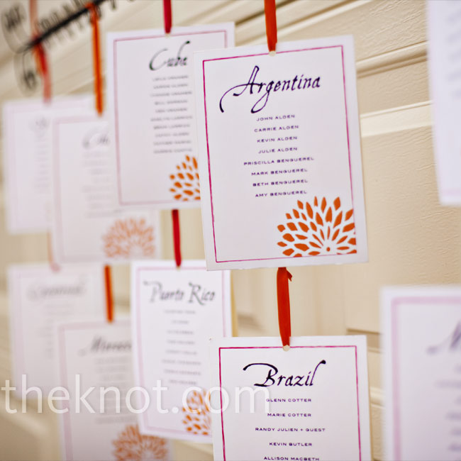 Leila and Aaron named each table after a Latin country, such as Cuba, Brazil, and Mexico. They had a card printed for each table, listing which guests would sit at each, and strung them with orange ribbon.