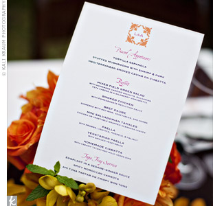 The couple's friend, a graphic designer, worked with them to create a custom logo that was included at the top of the orange and pink menu cards.