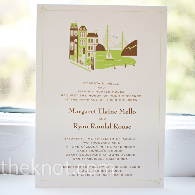 To make the invites super-personal, the couple's stationery designer included an illustration of San Francisco, the wedding locale, using only green and brown (the wedding colors).