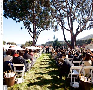 Yvonne and Alex got married on a big grassy lawn on a hill overlooking Cavallo Point, the Marin headlands, and the Golden Gate Bridge. Two giant trees created the perfect natural altar.