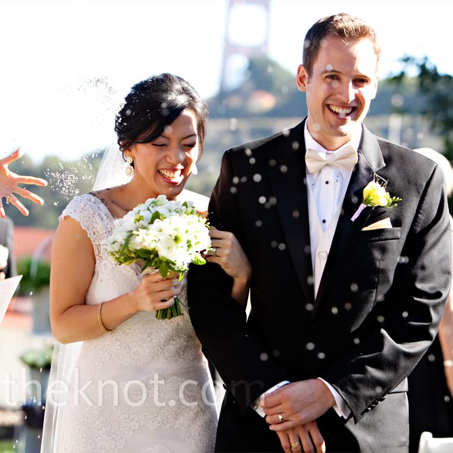Guests showered the newlyweds with dried lavender as they walked down the aisle after the ceremony.