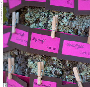 The couple's planner wrapped a thick pink ribbon around a tree and clipped the escort cards with wooden clothespins. Amy and John printed the cards themselves with supplies from Paper Source.