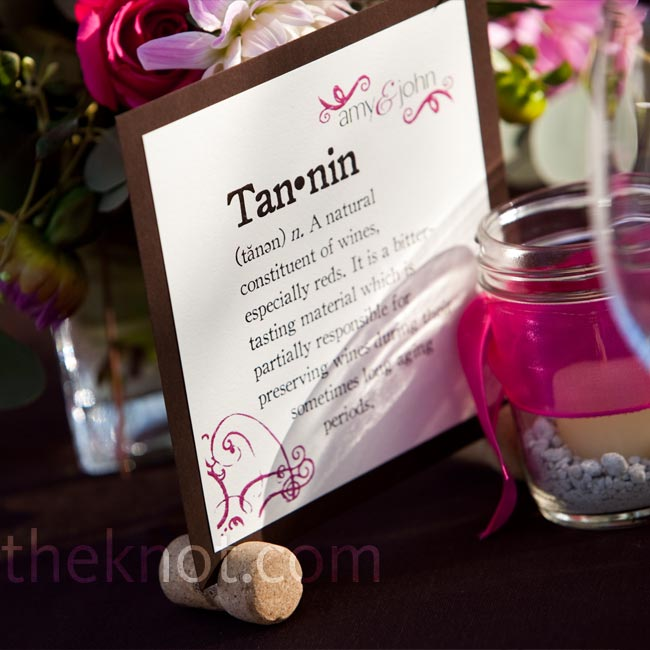 Amy and John named each table after different wine-related terms and included their dictionary definitions and pronunciation keys on the cards. Striving to capture the colors of fall in Sonoma, they worked with a brown and pink color palette.