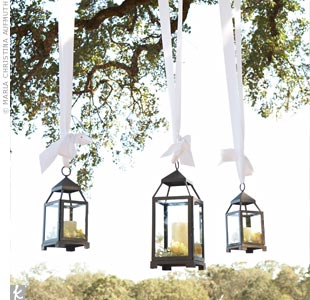 "Lanterns hung by white ribbon from the branches of the tree beneath which Sabena and Kevin said ""I do."""