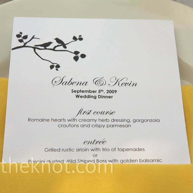 Sabena's favorite part of wedding planning was working with designers on incorporating the forest theme into the stationery. The menu cards had the same design as the invitations and programs (birds on branches) and were tucked into bright yellow napkins.