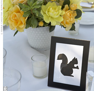 Each table was differentiated by the silhouette of a forest icon such as a squirrel, a fern, a raccoon, or even an acorn. The corresponding silhouette appeared on guests' escort cards.