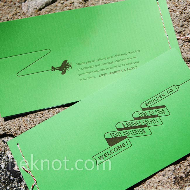 The same person who did the invites created these unique ceremony programs. She used green paper and a fun airplane graphic pulling a banner that spelled out the wedding day details.