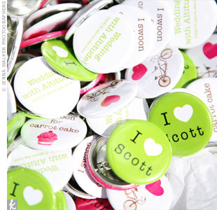 "Andrea and Scott showed off their playful style by handing out pins with fun slogans, like ""I heart Scott"" and ""Wedding with Altitude."""
