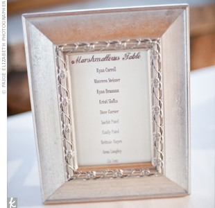 For a twist on the traditional escort cards, the bride and groom named each table after their favorite foods, like marshmallows and spare ribs, and framed a list of guests who would be sitting there.