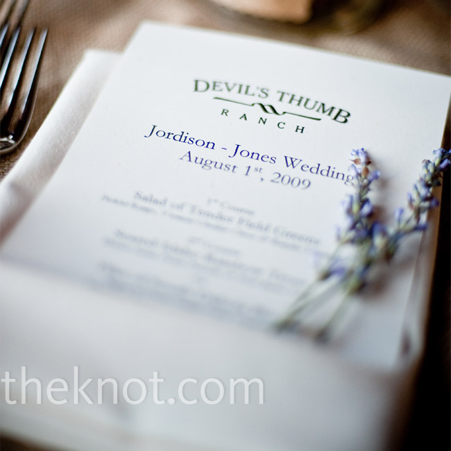 Sprigs of lavender added a touch of color to the fresh white napkins and menus.