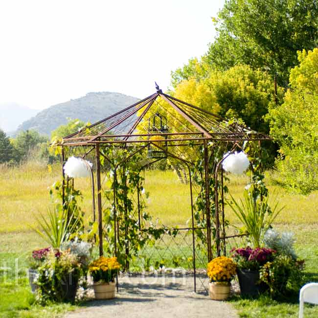The couple's ceremony took place in an open field beneath an iron gazebo.