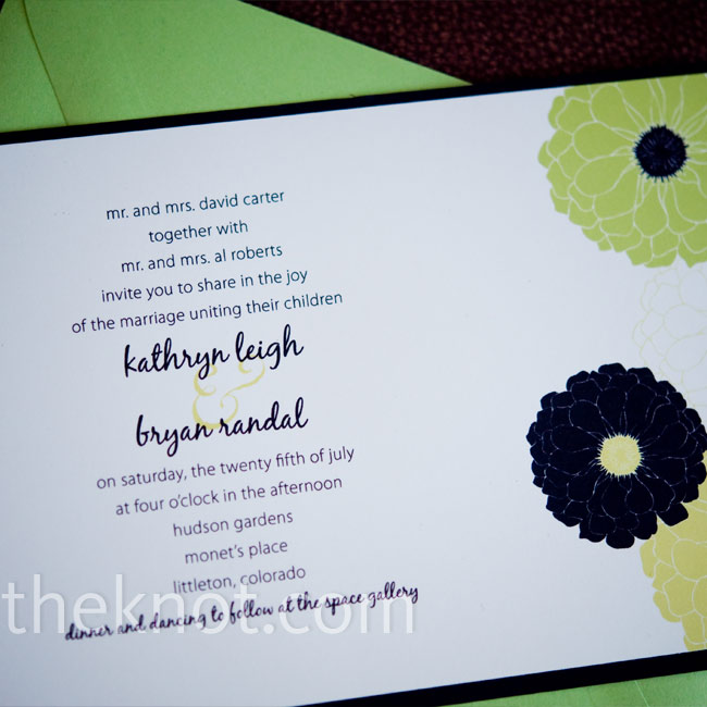 Katy and Bryan found the perfect floral-patterned invitations to match their fun black, white, and green color palette on Etsy.com.