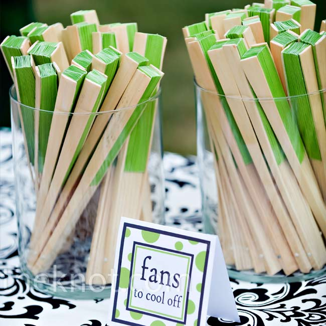 Apple green fans kept guests cool under the hot July sun.