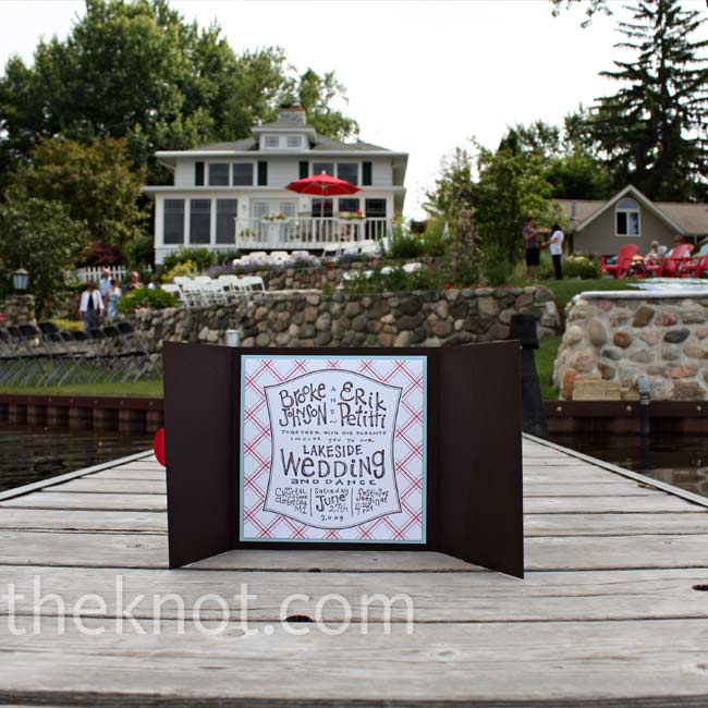 Brooke and Erik's red, white and blue invitations perfectly conveyed the wedding's lakeside-picnic vibe.