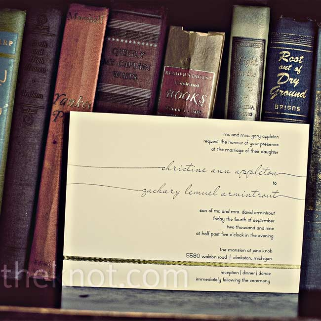 Christine and Zac's invitations had a cool, minimalist design that creatively incorporated the couple's names. The stationery designer, Christine's friend, carried the motif throughout the wedding.