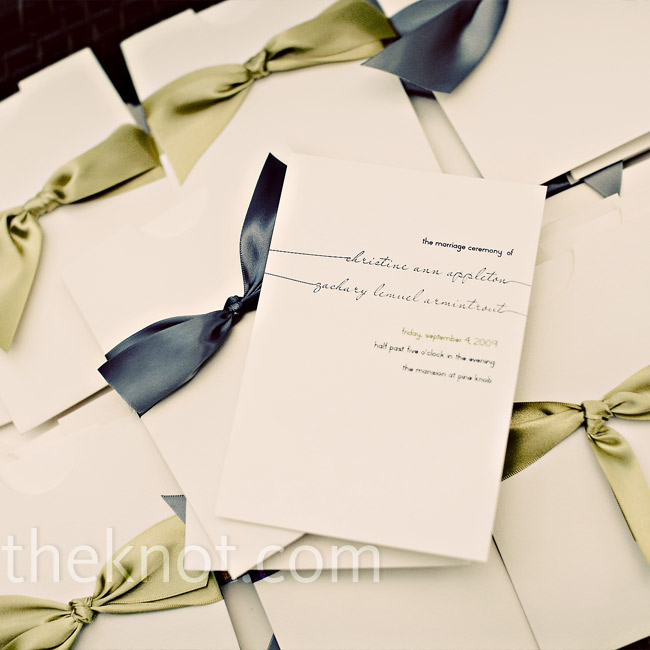 Christine's friend, who designed the wedding stationery, made the programs to resemble the invitations. They placed each one inside an ivory envelope with either a gray or chartreuse satin ribbon and displayed them in a wicker tray at the ceremony.