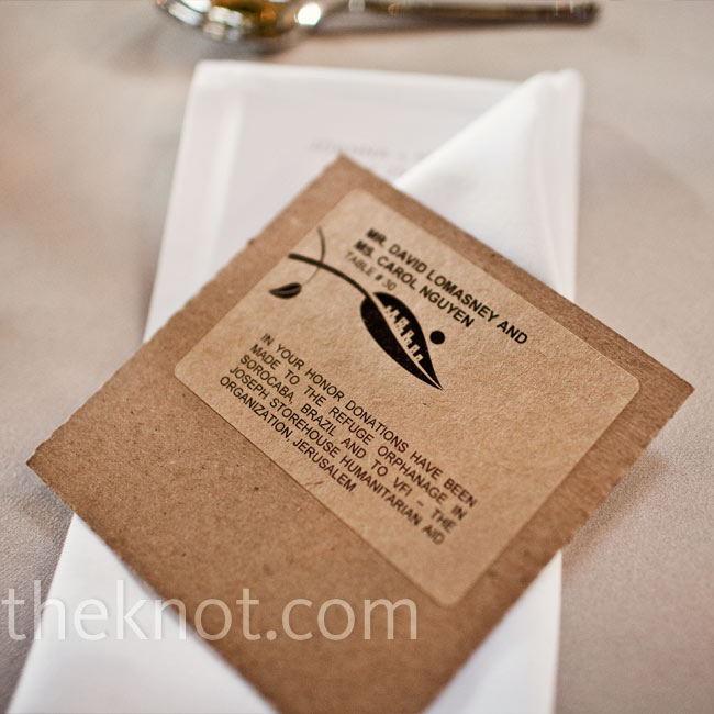 The guest's escort cards did double-duty: The table numbers were printed on CDs, which were filled with music played throughout the day. The couple also included a note letting them know about their donations to two charities.