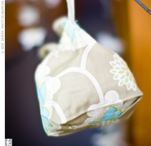 In keeping with the venue's sustainable surroundings, guests took home earth-friendly favors in bags by Living Ethos.