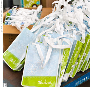 The Knot provided sustainable canvas totes filled with goodies for the guests.