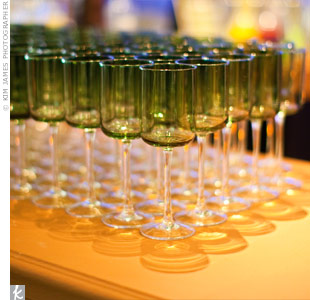 Guests drank from elegant, colored goblets.