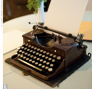 "In addition to a traditional guestbook, Aimee set up a table in the foyer with her vintage typewriter (a birthday present from Jordan) and paper for guests to type notes. ""It was so fun to see everyone using the 1930s typewriter, and we really loved reading all the sentiments our friends and family left for us,"" she says."