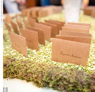 Instead of putting the escort card table out in the foyer, as guests arrived for the wedding, it was placed there during the ceremony so that guests could grab their cards on their way into the cocktail reception afterward.