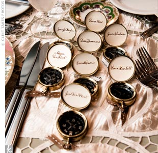 Guests took home brass compasses personalized with their names. The favors, which Aimee found on Etsy.com, also served as place cards.