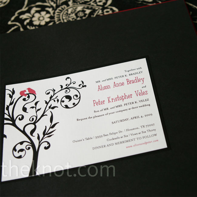 Alison fell in love with LetterPunch Design's classic lovebirds wedding invites, and the motif ended up inspiring the entire decorating scheme of the wedding, including the cake topper.