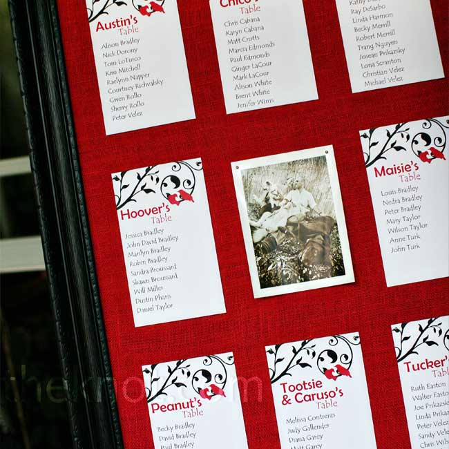 Peter created the seating chart himself. He found an old frame at a local antique shop, painted it black, and fitted it with a board covered in red burlap that the seating cards were then tacked onto.