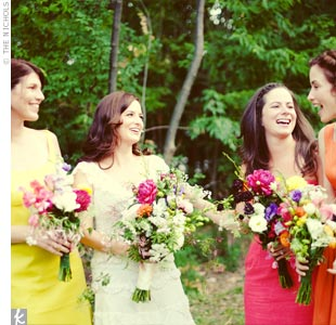 """I wanted the bridesmaids to choose something that they would wear again. I was not at all picky, other than showing them the color palette."" Amy says. Two girls ended up ordering dresses from J. Crew, and the third wore a vintage dress she already owned."