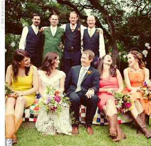The groomsmen paired vests purchased at Forever 21 with madras ties in colors that matched the bridesmaids' dresses.