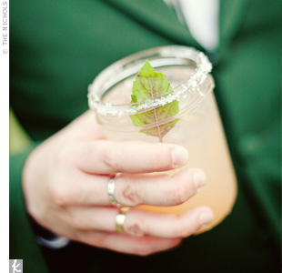 Guests were served grapefruit basil margaritas in salt-rimmed mason jars.