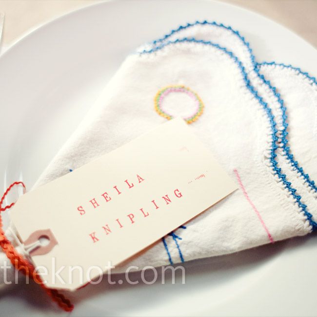 For rustic flare, Amy collected vintage napkins and used them to decorate each place setting.
