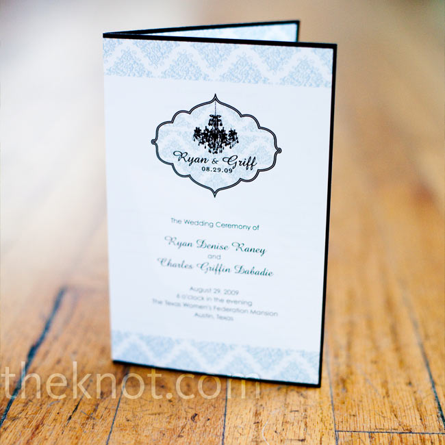 A custom-made logo incorporating Ryan's signature black and white damask and a chic black chandelier was emblazoned on everything, including the ceremony programs.