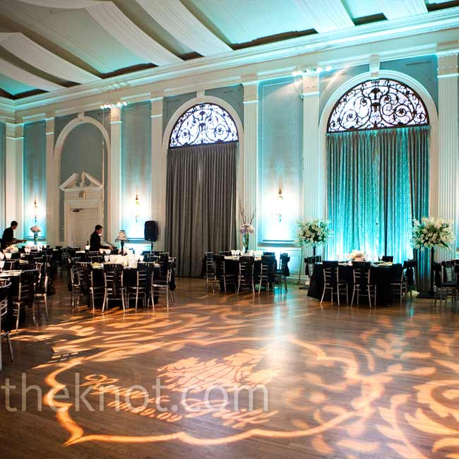"The bride and groom knew that they wanted to have the ceremony and reception in the same place, so they were delighted when they found The Mansion in Austin, which has an elegant old world vibe. The selling point, as Ryan puts it: ""the walls of the ball room were the exact shade of icy blue that was my accent color!"""